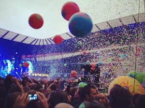 Inflatable balls at Etihad Stadium. And this wasn't the cricket (Image: Mancunian Matters)