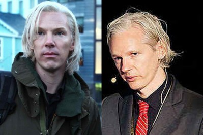 The cumbersome Benedict Cumberbatch and the perennially awkward Julian Assange.