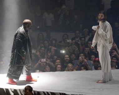 Kanye speaks with Jesus (artist impression). Image: SplashNews